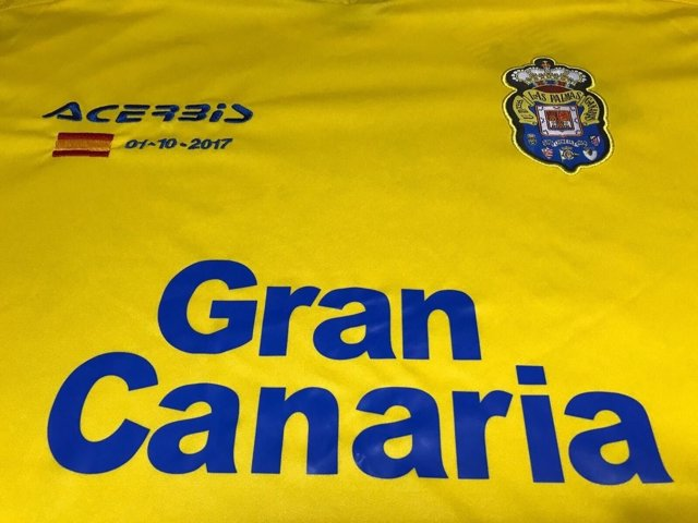 Diseño de la camiseta de Las Palmas para el partido contra el Barcelona
