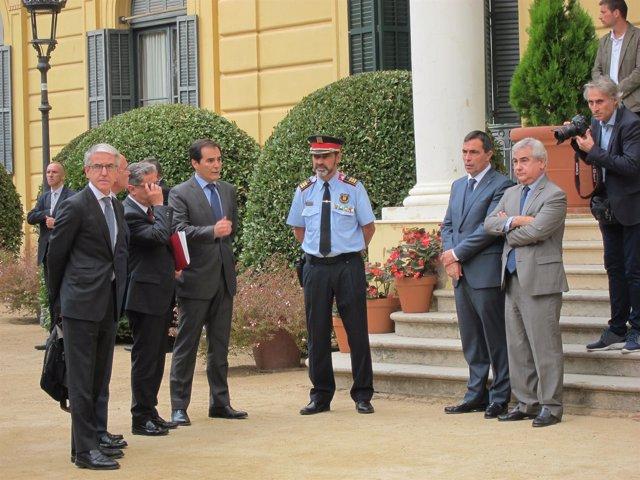 El secretario de Estado de Seguridad J.A.Nieto y el mayor de Mossos J.L.Trapero
