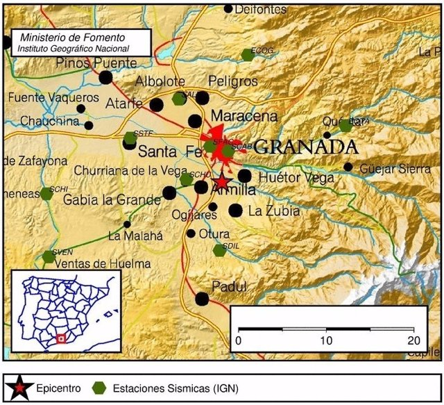 Registrado un terremoto en Armilla (Granada)