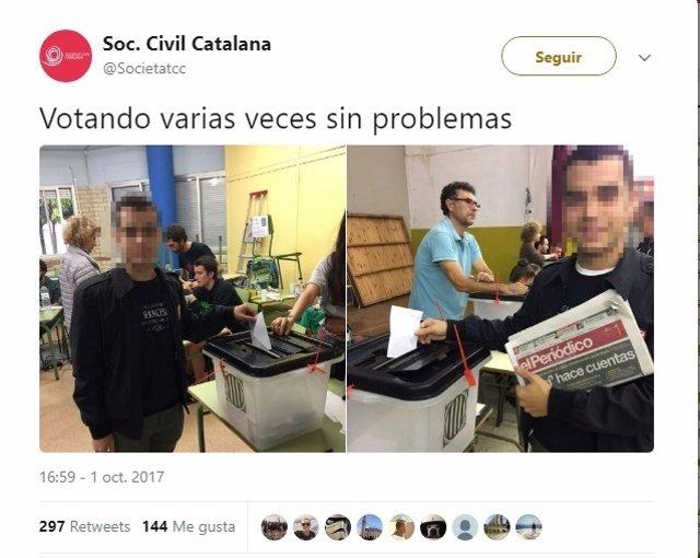 Un miembro de Sociedad Civil Catalana vota dos veces en colegios distintos