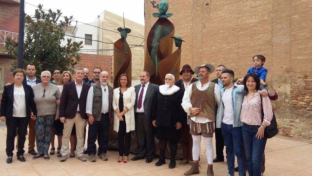 Inauguración del conjunto escultórico cervantino en Pedrola.
