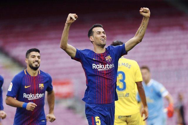 Busquets celebra un gol contra el Las Palmas