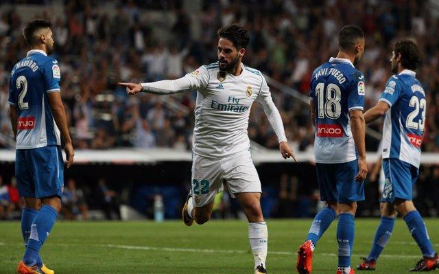 Isco celebra un gol contra el RCD Espanyol en LaLiga