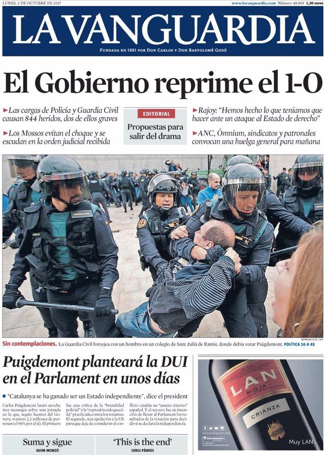 Las portadas de los peri dicos de hoy lunes 2 de octubre - Portada de la vanguardia ...
