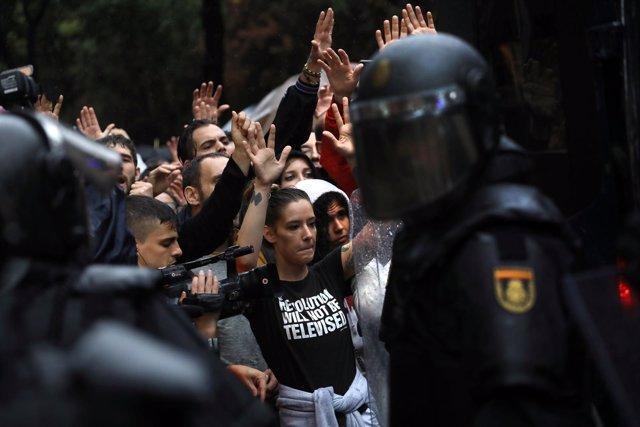 La Policía en las cargas el día del referéndum