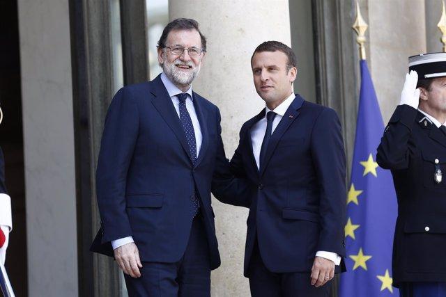Emmanuel Macron Y Mariano Rajoy En El Palacio Del Elíseo