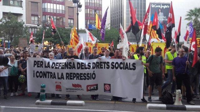 Manifestación en València por el 1-O