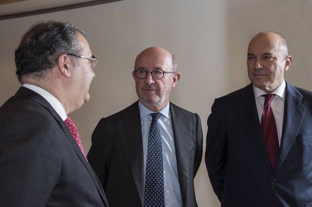 Ángel Ron, Emilio Saracho y Pedro Larena