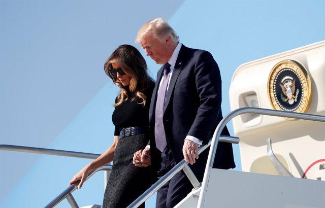 Donald y Melania Trump llegan a Las Vegas tras el tiroteo