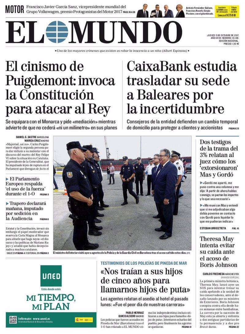 Las portadas de los periódicos de hoy, jueves 5 de octubre de 2017