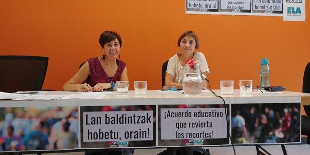 Rueda de prensa de ELA y Steilas sobre educación en Navarra.