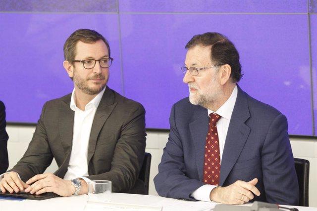 Javier Maroto y Rajoy en la reunión del Comité Ejecutivo Nacional del PP