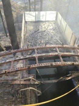 Piscina del Parador de Tejeda tras el incendio