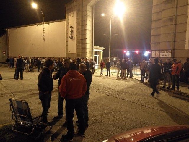 Huelga en auxiliares de Navantia en la Ría de Ferrol.
