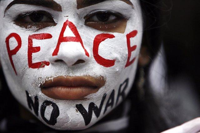 Manifestación contra las armas nucleares en India