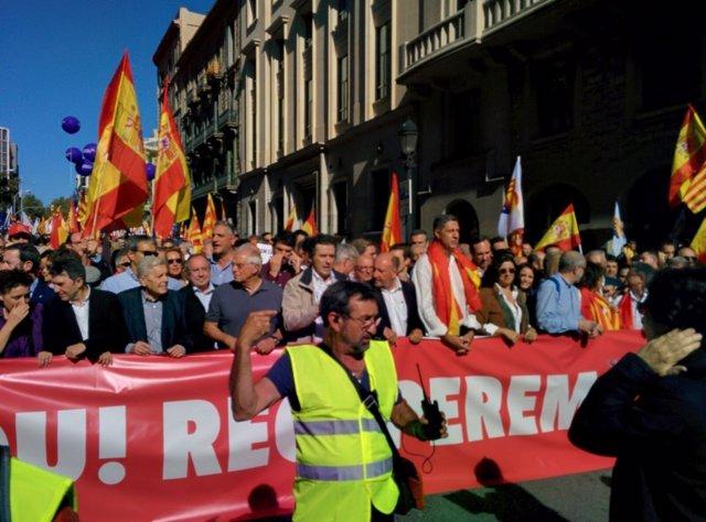 Cabecera de la manifestación de SCC en Barcelona por la unidad de España