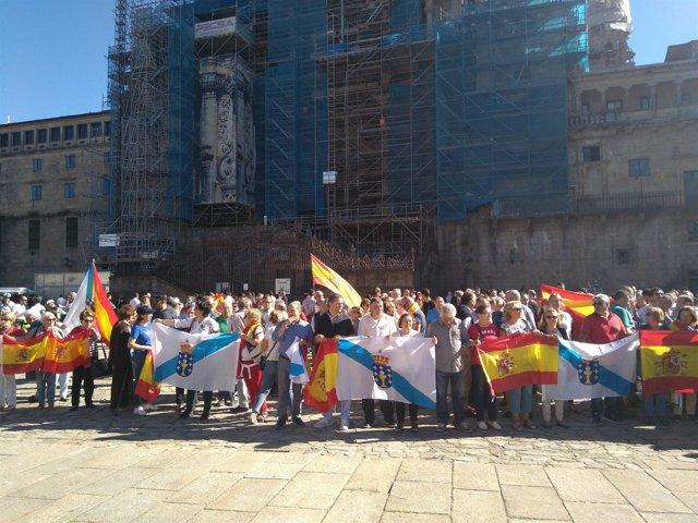 Concentración en el Obradoiro a favor de la unidad de España