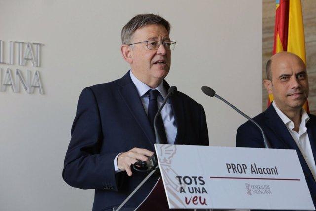 Ximo Puig atiende a los medios en Alicante