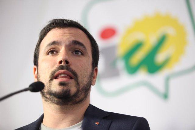 El coordinador general de IU, Alberto Garzón
