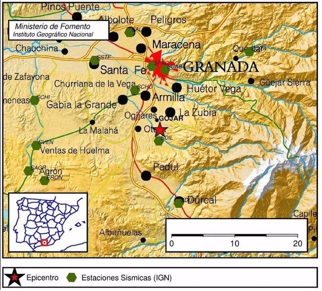 Mapa con epicentro del seísmo