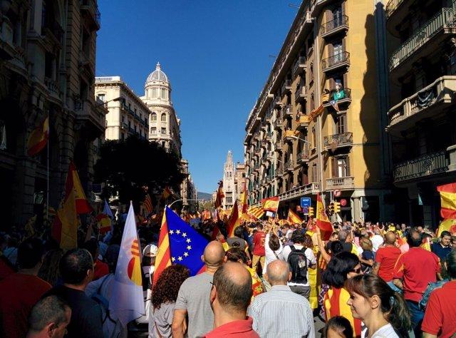 Manifestación de SCC por la unidad de España en Barcelona