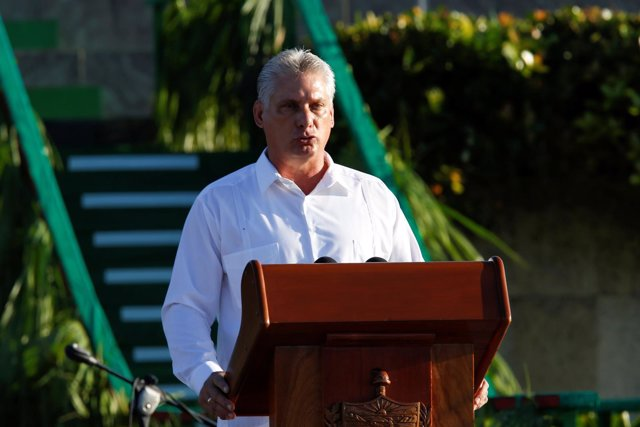 Cuba's First Vice President Miguel Diaz-Canel speaks during a ceremony commemora