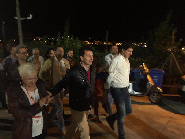 Gonzalo Caballero llega a la sede del PSdeG tras las primarias