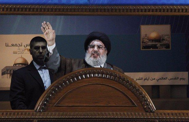 El líder del partido-milicia chií libanés Hezbolá, Sayyed Hassan Nasralá