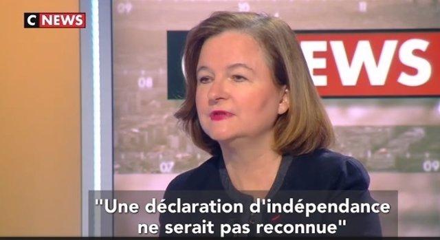 Imagen de la entrevista a Nathalie Loiseau en la cadena CNews