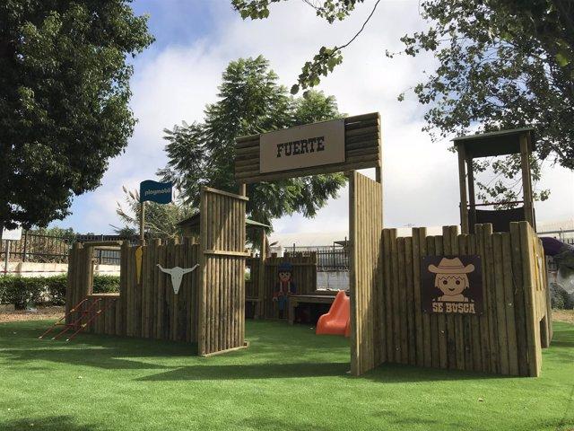 Ayto Algarrobo parque infantil playmobil fuerte bravo colegios ceip educación