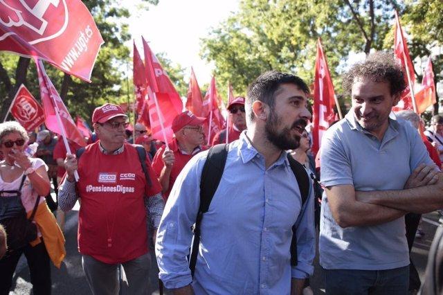 Ramón Espinar, en la concentración por unas pensiones dignas
