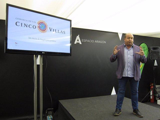 El presidente de la Comarca de Cinco Villas, Santos Navarro, hoy en Zaragoza