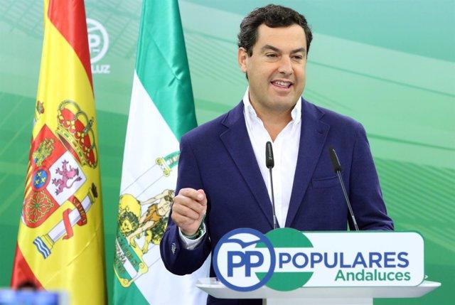 Rueda de prensa del presidente del PP-A, Juanma Moreno