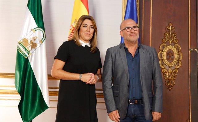 Presidenta de la Junta, Susana Díaz, y el presidente de CSIF- José Luis Heredia