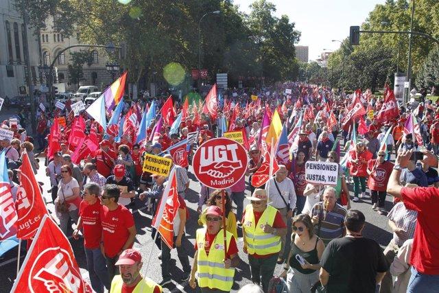 Marcha por pensiones dignas en Madrid