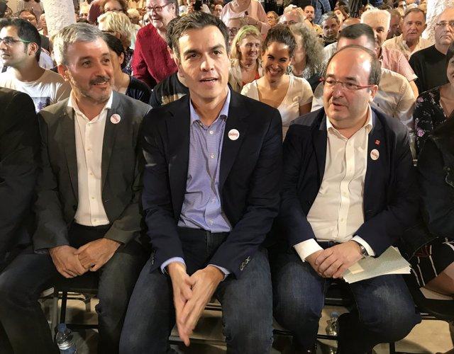 Jaume Collboni (PSC), Pedro Sánchez (PSOE) y Miquel Iceta (PSC)