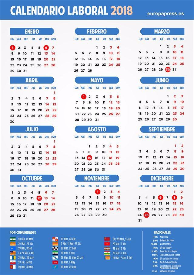 Calendario Diciembre 2018 Con Festivos.El Calendario Laboral Para 2018 Recoge Diez Festivos Comunes