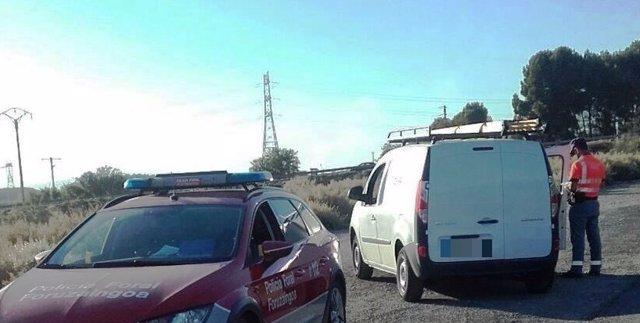 Vehículo interceptado tras darse a la fuga en un accidente en Caparroso