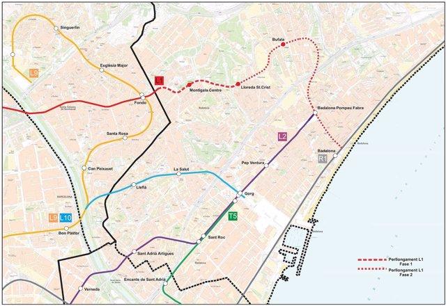 Prolongació de la Línia L1 del Metro a Badalona