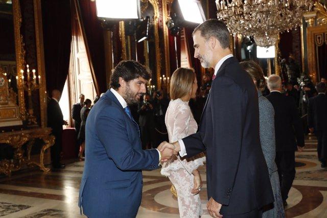 Fernando López Miras, asistie a la recepción de SS.MM. Los Reyes