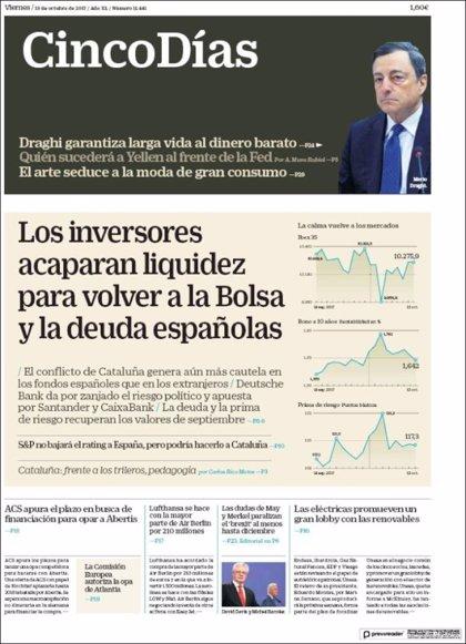 Las portadas de los periódicos económicos de hoy, viernes 13 de octubre