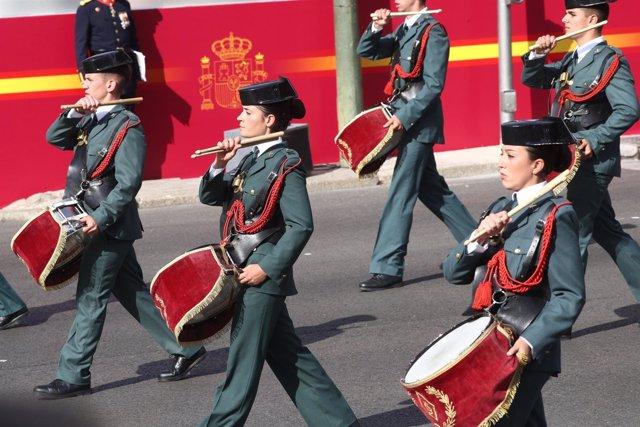 Agentes de la Guardia Civil en el desfile del 12 de octubre del 2017