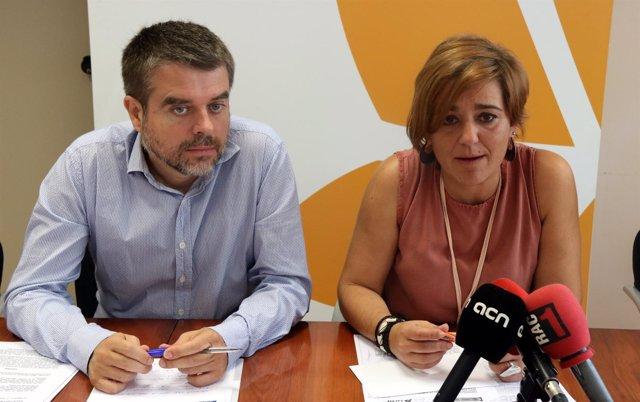 El t.Alcalde de Montcada i Reixac, Jordi Sànchez, y la alcaldesa, Laura Campos