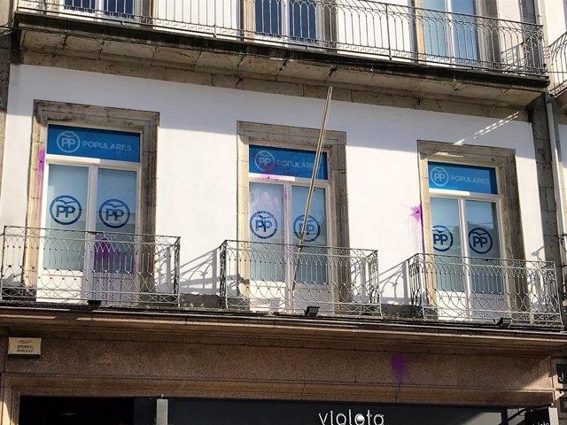 Ataque a la sede del PP de Vigo.