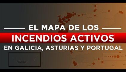 Mapa de incendios activos en Galicia, Asturias y Portugal