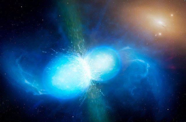 Impresión artística de una fusión de estrellas de neutrones