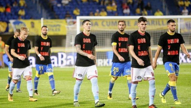 Celta Las Palmas camisetas incendios Galicia