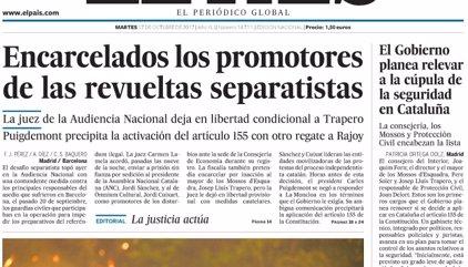 Las portadas de los periódicos de hoy, martes 17 de octubre de 2017