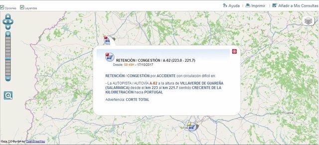 Gráfico informativo sobre el corte de la A-62 en Salamanca