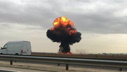 Fotos y vídeos del accidente de un F-18 en Torrejón de Ardoz (Madrid)